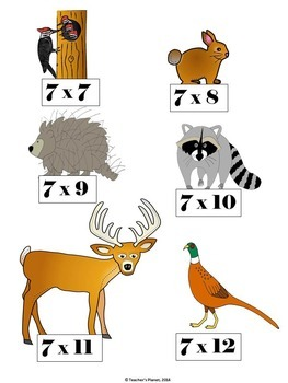Multiplication File Folder Games   7 X Deciduous Forest  Animals