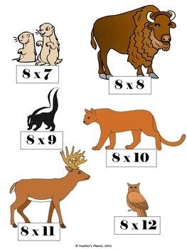 Multiplication File Folder Games 8 X Table Prairie Animals