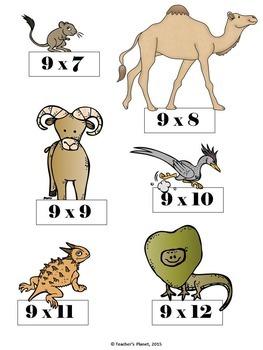 Multiplication File Folder Games 9X Table Desert Animals