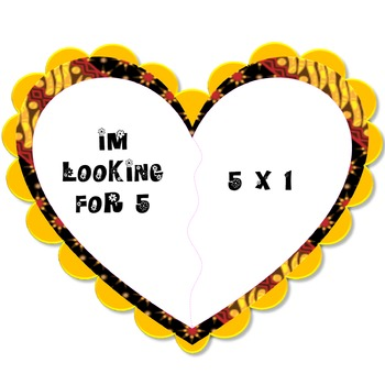 """Multiplication """"Find Your Soulmate"""" Game Card"""