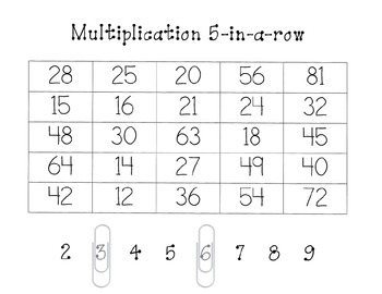 Multiplication Five-in-a-row Game