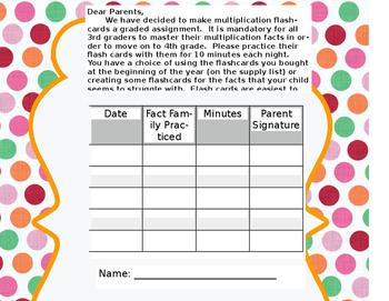 Multiplication Flash Card Log