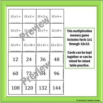 Multiplication Flash Card Memory Game
