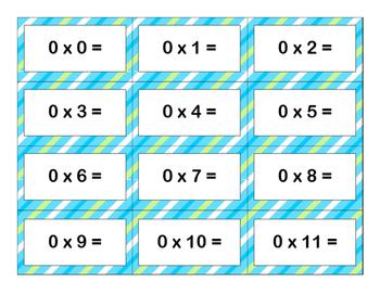 Multiplication Flash Cards: 0-12