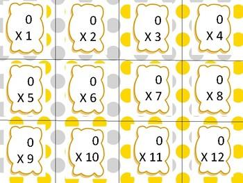 Multiplication Flash Cards 0-12