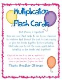 Multiplication Flash Cards 0 - 12 - Free!