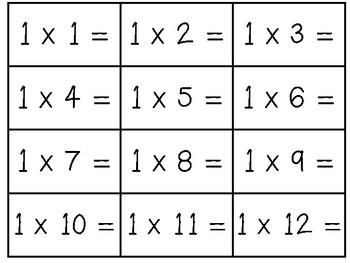Multiplication Flash Cards (1-12) by beachingandteaching | TpT