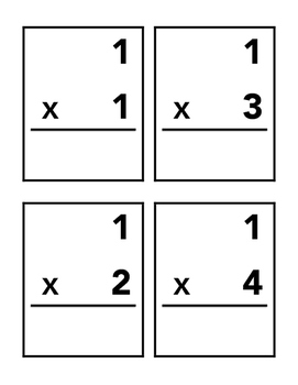 Multiplication Flash Cards (#1-15)