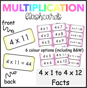 Multiplication Flash Cards (4 Times Table)