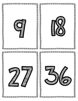 Multiplication Flash Cards - 9