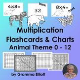 Multiplication Flash Cards  0X to 12X and Charts Animal Theme