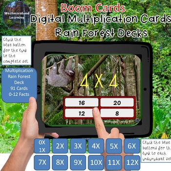 Multiplication Flash Cards Digital Boom Cards Rain Forest Theme Bundle 13 Decks