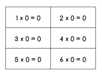 Multiplication Flash Cards Factors 0 - 3