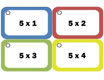 Multiplication Flash Cards: Fives, Multiplication Facts of 5