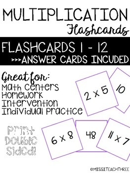Multiplication Flash Cards | Flashcards for 1 -12