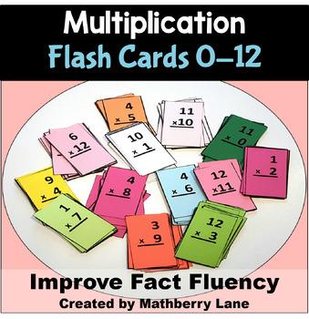 Multiplication Flash Cards Fluency 0-12 with Progress Tracker