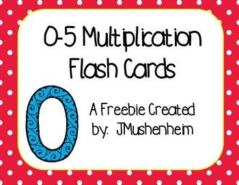 Multiplication Flash Cards Freebie, 0-5