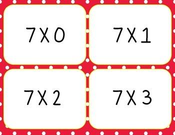 Multiplication Flash Cards Freebie, 7s