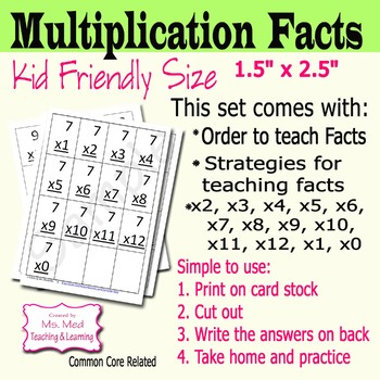 Multiplication Flash Cards Set of 13 Printable Multiplication Flash Cards 0-12