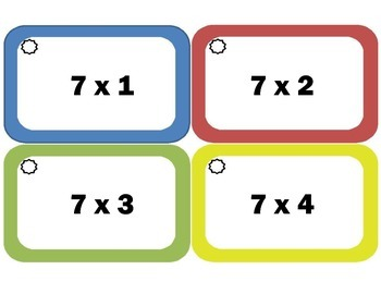 Multiplication Flash Cards: Sevens, Multiplication Facts of 7