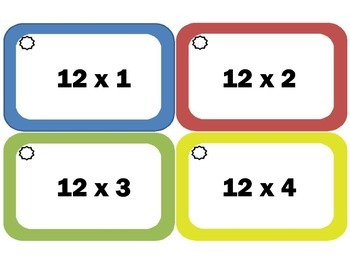 Multiplication Flash Cards: Twelves, Multiplication Facts of 12