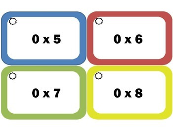 Multiplication Flash Cards: Zeros, Multiplication Facts of 0