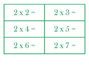 Multiplication Flash Cards for BONGO Multiplication Facts 1-12