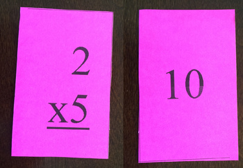 Multiplication Flash Cards for Two Facts