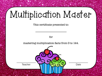 Multiplication Flash Cards with Award Certificates - Cupcake Theme - Large