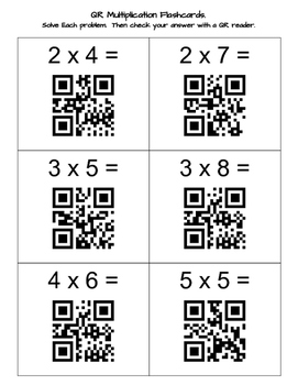 Multiplication Flash Cards with QR Codes