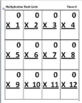 Multiplication Flash Cards x0