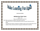 Multiplication Flash cards 2's - 10's