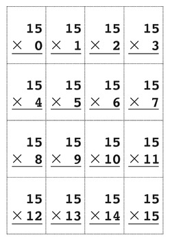 photo about Times Table Flash Cards Printable known as Multiplication Flashcard 0-15 Sets Tables with Resolution