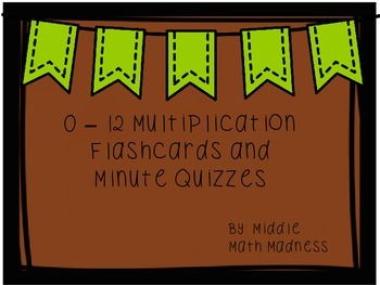 Multiplication Flashcard Pack and Quizzes (0 - 12)