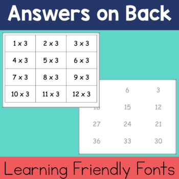 Multiplication Flashcards 0-12: With Answers on Back