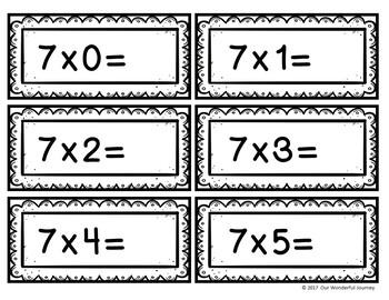 Multiplication Flashcards (Black & White)