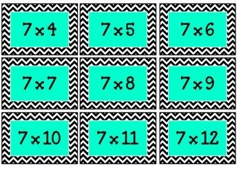 Multiplication Flashcards - Chevron
