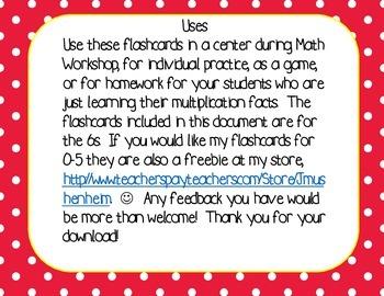 Multiplication Flashcards Freebie, 6s