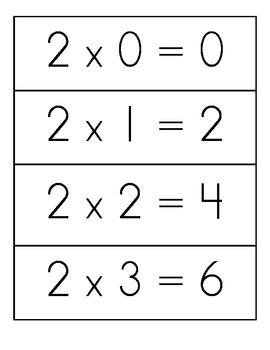 Multiplication Flashcards-Horizontal