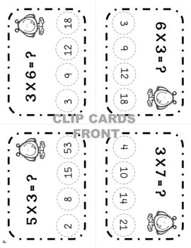 Multiplication Flashcards and Clip Cards