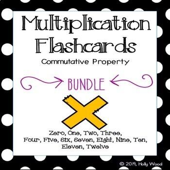 Multiplication Flashcards using Commutative Property - BUNDLE!