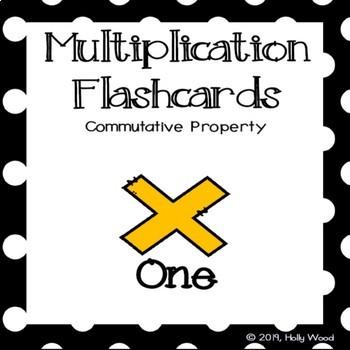 Multiplication Flashcards using Commutative Property - Fact Focus: One