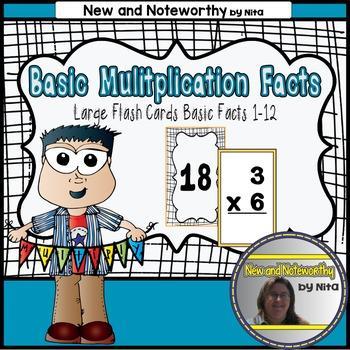 Multiplication Flashcards with Basic Facts --- Large Flashcards