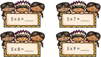 Multiplication Flashcards with Native Americans