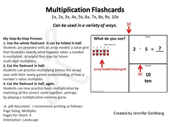 Multiplication Flashcards with Array Models/Value Grids (1x-10x)