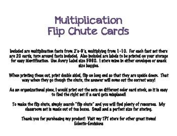 Multiplication Flip Chute Cards
