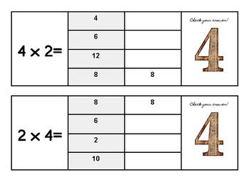 Multiplication Flip and Clip Game Cards x 4