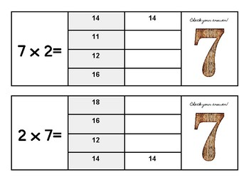 Multiplication Flip and Clip Game Cards x 7
