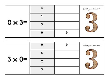 Multiplication Flip and Clip Game Cards- x THREE