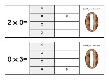 Multiplication Flip and Clip Game Cards - x ZERO